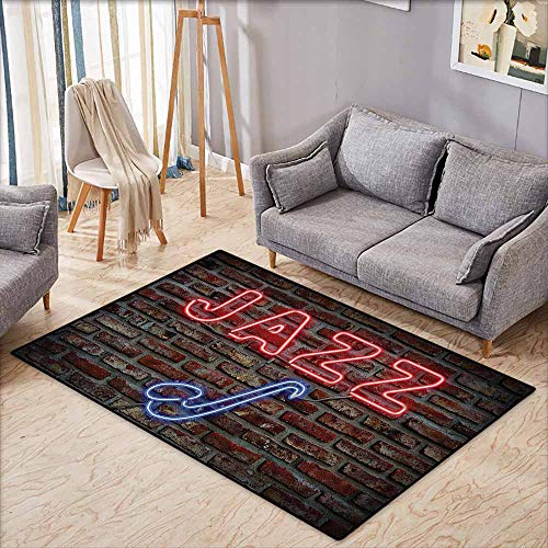 (Outside The Door Rug Jazz Music Decor Image of Bright Neon All Jazz Sign with Saxophone On Brick Wall Print Design Decor Red Blue Breathability W5'9 xL4'9)