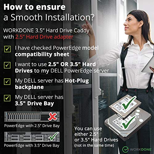 WORKDONE 3 5 inch Hard Drive Caddy Tray for Dell PowerEdge Servers - with  2 5 inch HDD Adapter NVMe SSD SAS SATA Bracket - Now Simply and Easy  Carrier