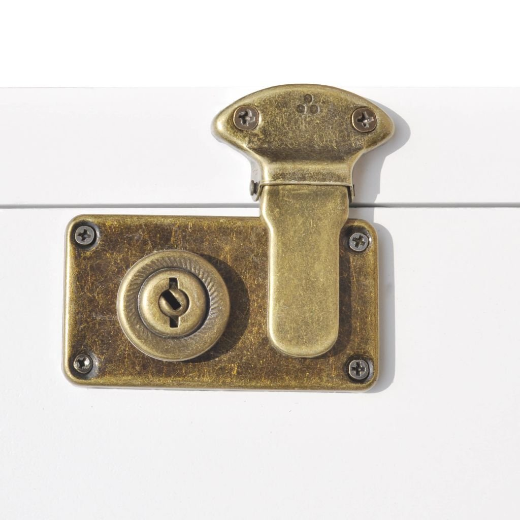 Tidyard mobiletto a Baule,Mobile Bagno,comodini Camera Decorativo 40x30,5x81 cm Bianco,con 4 Ruote