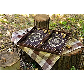 A Set of Brown Handmade Wooden Backgammon Board Game with Accessories -Portable Travel Folding Suitcase with Playing Pieces by Madeheart