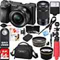 Sony ILCE-6300 a6300 4K Mirrorless Camera 16-50mm & 55-210mm Zoom Lens 64GB Kit (Black) + 64GB Accessory Bundle + DSLR Photo Bag + Extra Battery+Wide Angle Lens+2x Telephoto Lens+Flash+Remote+Tripod from Sony