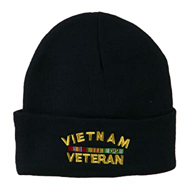 f1b92bc9616 Amazon.com  Eagle Crest Vietnam Veteran Embroidered Knit Beanie ...