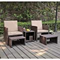 OC Orange-Casual Outdoor Wicker Furniture Set Patio Conversation Chat Set with Storage Side Table | Lawn Pool Balcony