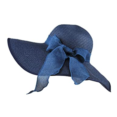 e453a439b1501 Chapeau De Soleil Casquette De Paille Chapeau Panama Plage Voyage Femme  Fille Élégant Bleu Marine
