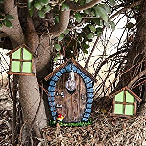 Goshowin Fairy Gnome Home Miniature Window And Door With Small Bulb For Tree Decor Ornaments Yard Garden Sculpture Window Glow In The Dark