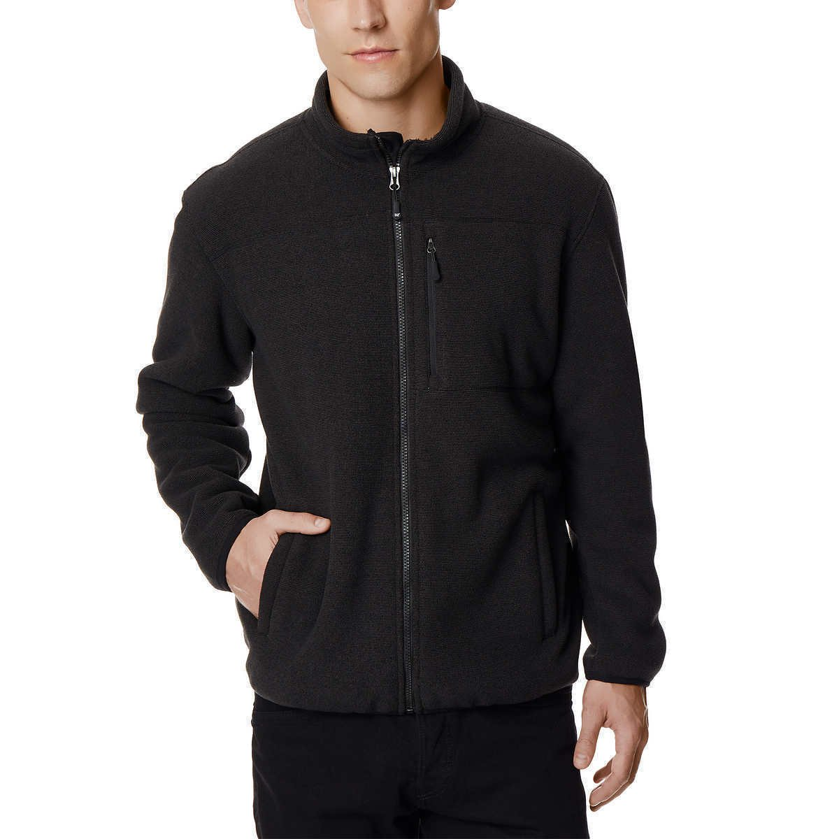 32 DEGREES Men's Fleece Sherpa Jacket (Black, X-Large) by 32 DEGREES