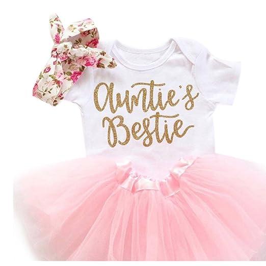 15f6adb8d0 Baby Romper Headband Tutu Skirt 3Pcs Romper Clothes Set with Auntie's  Bestie (80/3