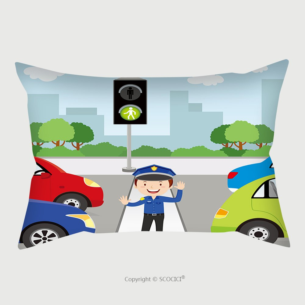 Custom Satin Pillowcase Protector Traffic Policeman Is Making A Stop Gesture Signal To Control Traffic 491463817 Pillow Case Covers Decorative by chaoran