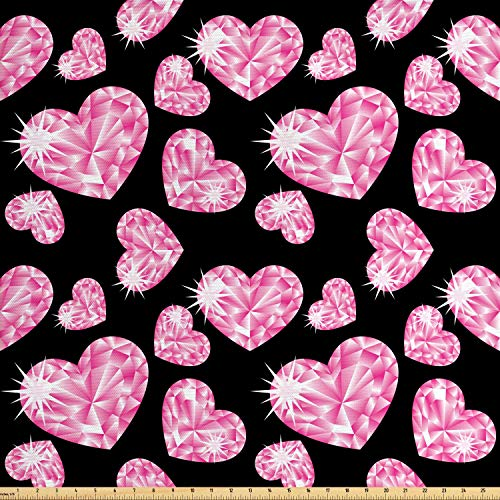 Ambesonne Diamonds Fabric by The Yard, Romantic Pink Heart Stones on Black Background Lovely Valentines Day Theme, Decorative Fabric for Upholstery and Home Accents, 2 Yards, Pale Pink Black