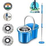 ALLWIN's Mop Bucket Magic Spin Mop Steel PVC Bucket with 2 Micro Fiber Mop Head Household Floor Cleaner (Blue)