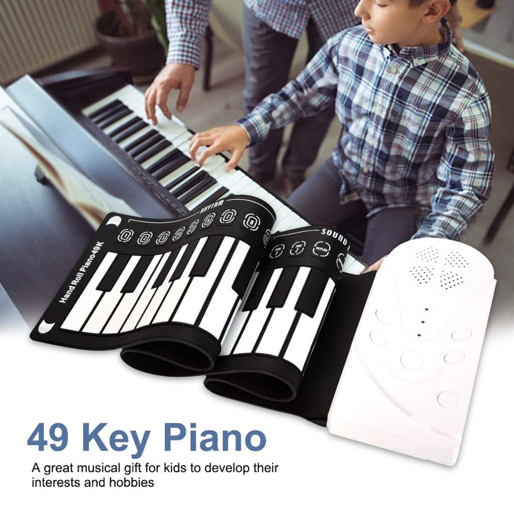 New Roll Up Piano Portable Children's Piano Electronic Digital Piano Keyboard 49-Key Silicone Rubber Recording Feature, Black by Anyer Piano (Image #3)