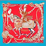 Beauty Fashion Scarf Blue Sunscreen Women's Twill Silk Square Printed Blue Fighting Horse Shawl 51'' 51''