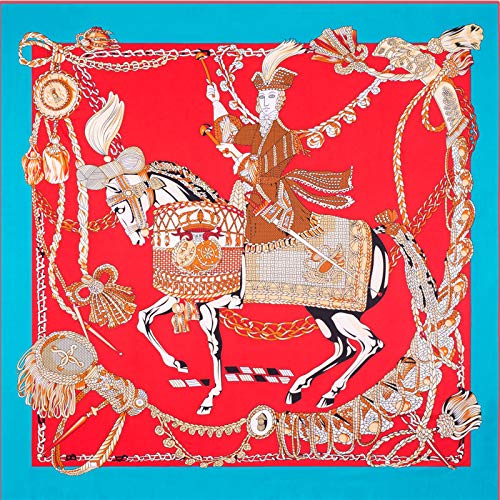 Beauty Fashion Scarf Blue Sunscreen Women's Twill Silk Square Printed Blue Fighting Horse Shawl 51'' 51''