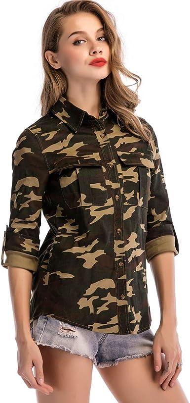 ilovgirl Abrigos para Mujer Camuflaje Estampado Cardigan Mujeres Camisa Delgada Abrigo Casual: Amazon.es: Ropa y accesorios