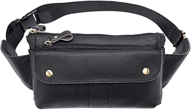 Men PU Leather Belt Bum Waist Pocket Fanny Pack Chest Bag Shoulder Zip Bag Purse
