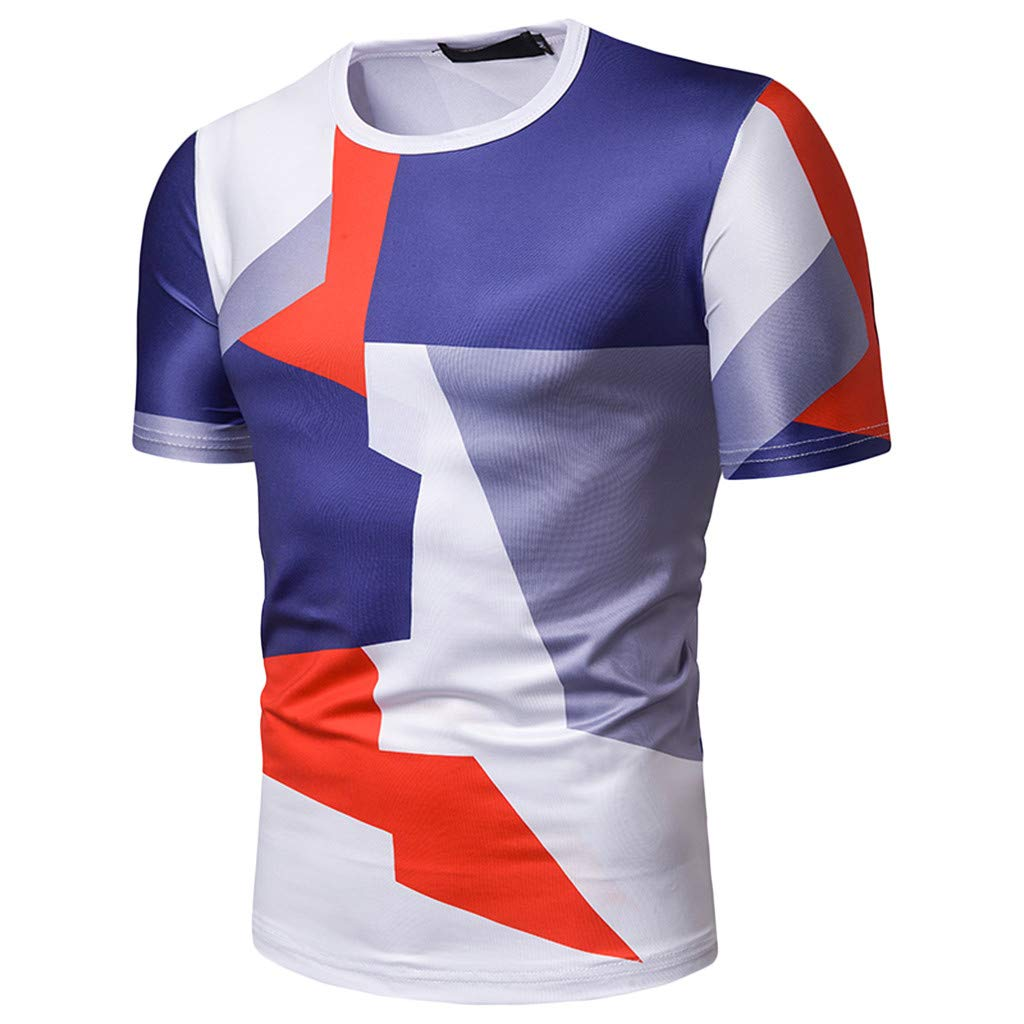 Xiloccer Men/'s Fashion Short Sleeve Stripe Painting Large Size Casual Top Blouse Shorts