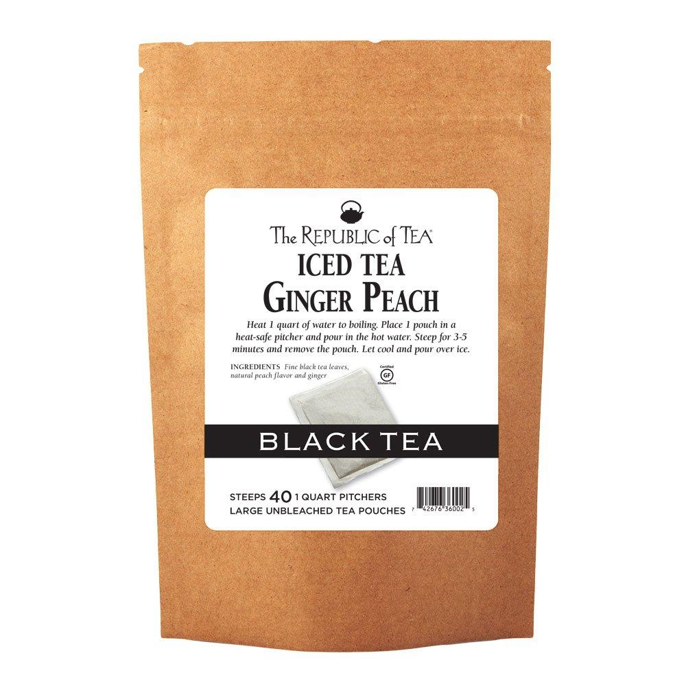 The Republic of Tea Ginger Peach Black Iced Tea, 40 Large Iced Tea Pouches / 40 Quarts, Award-Winning Premium Black Tea