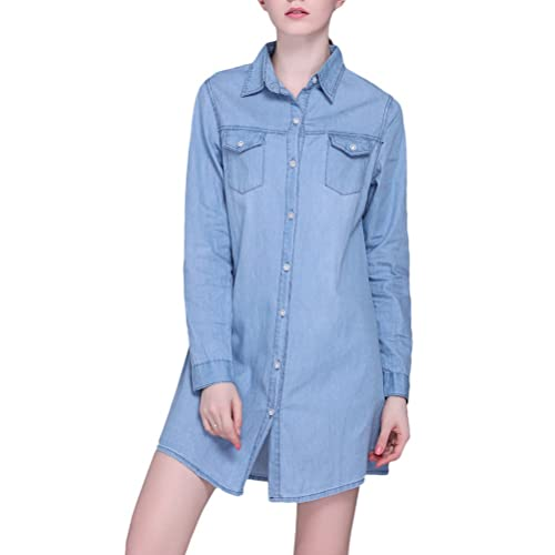 Zhhlaixing Camisas casuales Classic Denim Shirt Lapel Long Sleeves Shirts Jacket Straight Cardigan f...