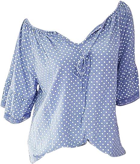 SMILEQ Camiseta de Las Mujeres Moda Más Tamaño Media Manga Lunares Encaje con Cuello en v Blusa Jersey Tops Camisa (XXL, Azul): Amazon.es: Deportes y aire libre