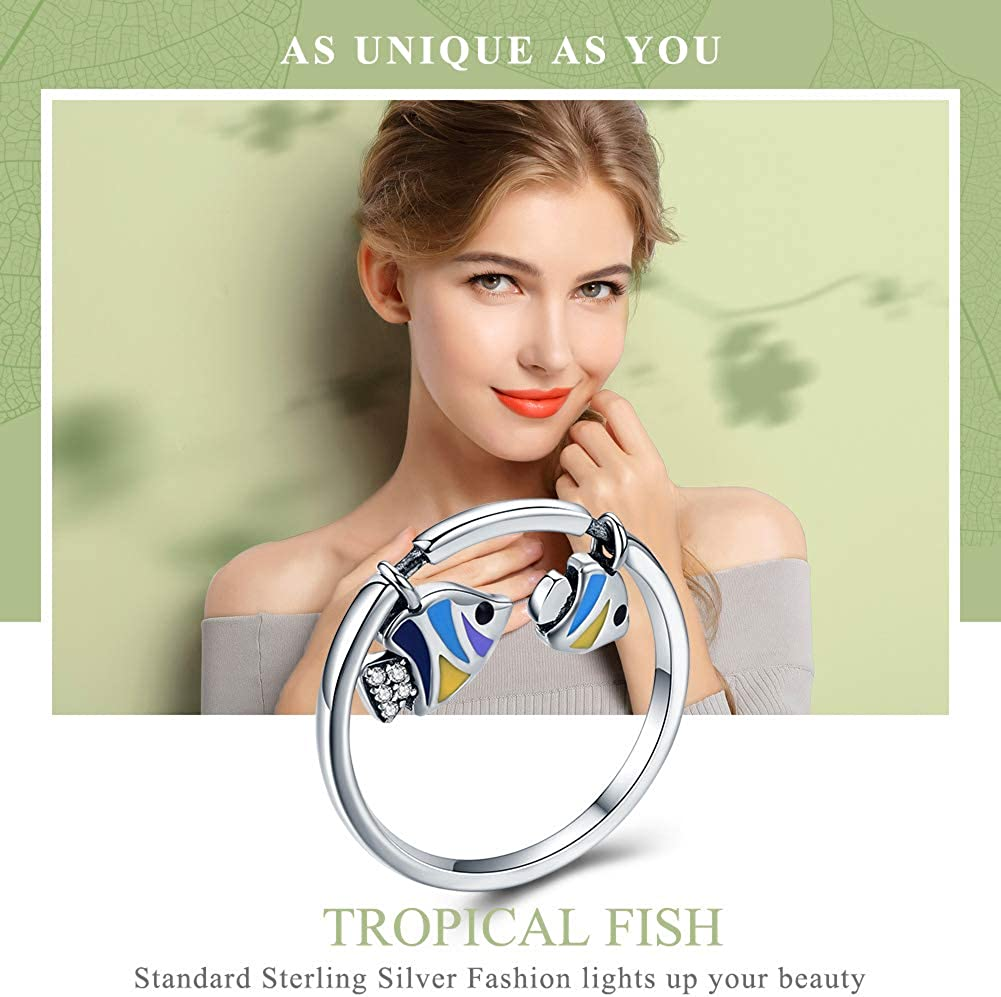 Couple Tropical Sea Fish Dangle 925 Sterling Silver Ring Enamel Clear CZ