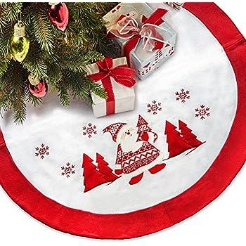 36 Inch Christmas Tree Skirt Flannel White And Red Edge Handmade Knit Santa