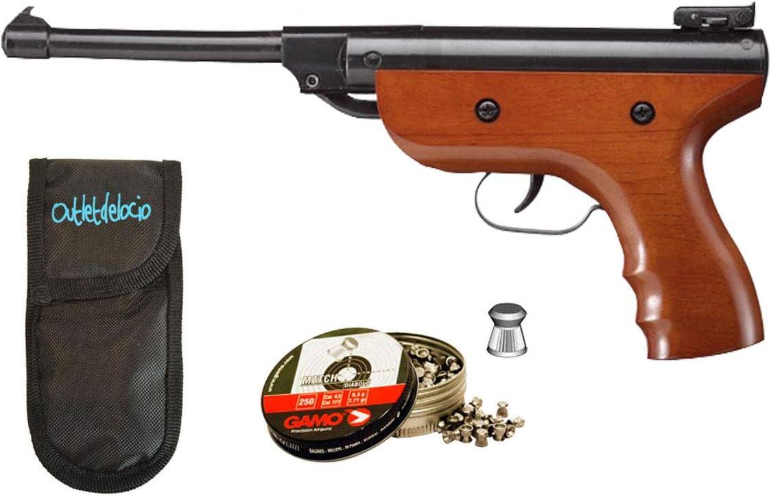 Outletdelocio.. Pack Pistola Perdigón Zasdar S2. Cal 4,5mm + Funda Portabalines + balines. 31468/38203/23054