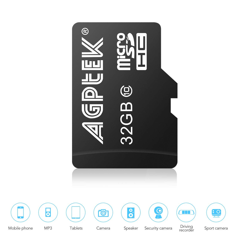 AGPtEK - Tarjeta Micro SD (32 GB, Clase 10, Lector de Tarjetas, Compatible con Reproductor AGPTek MP3)