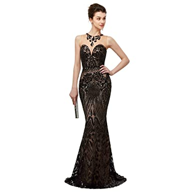Leyidress Women s Sexy Sequins Trumpet Mermaid Dresses Evening Dress Long  Party Prom Gown 2 b79e780141
