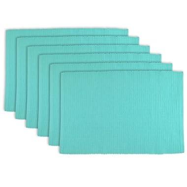 DII 100% Cotton, Ribbed 13x 19  Everyday Basic Placemat Set of 6, Aqua