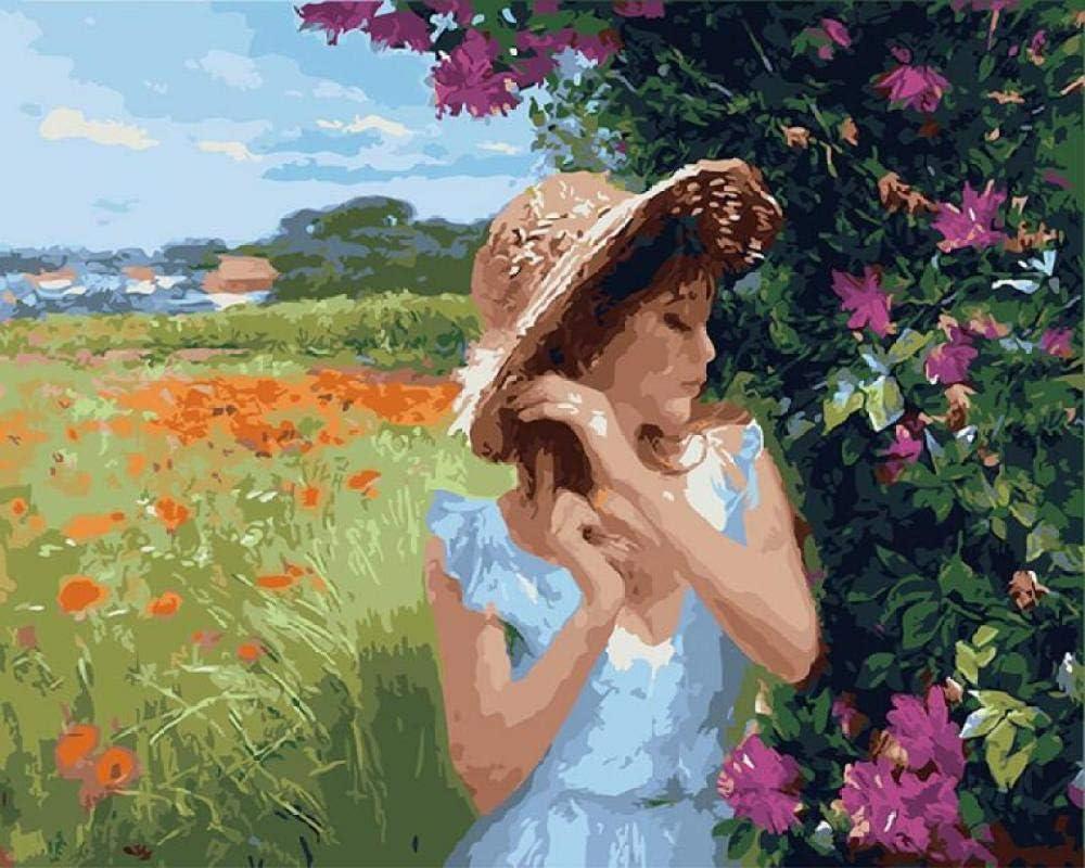 CaiHongPZZPanda DIY Pintura al óleo por números Flores Rojas abstractas Cuadros de Pared para Sala de Estar decoración del hogar Vintage colorante por números 40x50cm-enmarcado