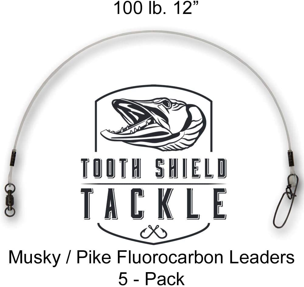Premium Fluorocarbon Musky Leaders Muskie Pike Leader Crane Swivel Tooth Shield Tackle 5 Pack 100 lb