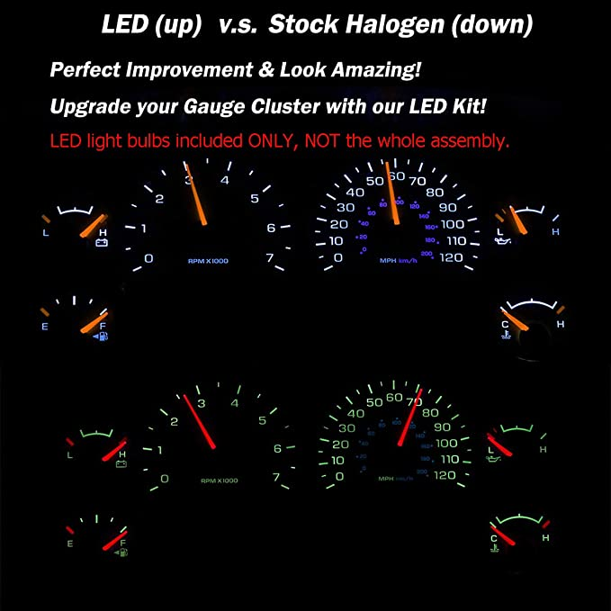 HERCOO White LED Light Bulbs For Instrument Gauge Cluster Speedometer Compatible With 2002 2006 Dodge Ram 1500 2500 3500