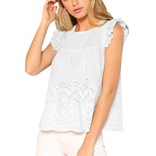 Sleeveless Blouse for Womens, FORUU Casual Solid Ruffle Hollow Out Shirts Tops at Amazon Womens Clothing store: