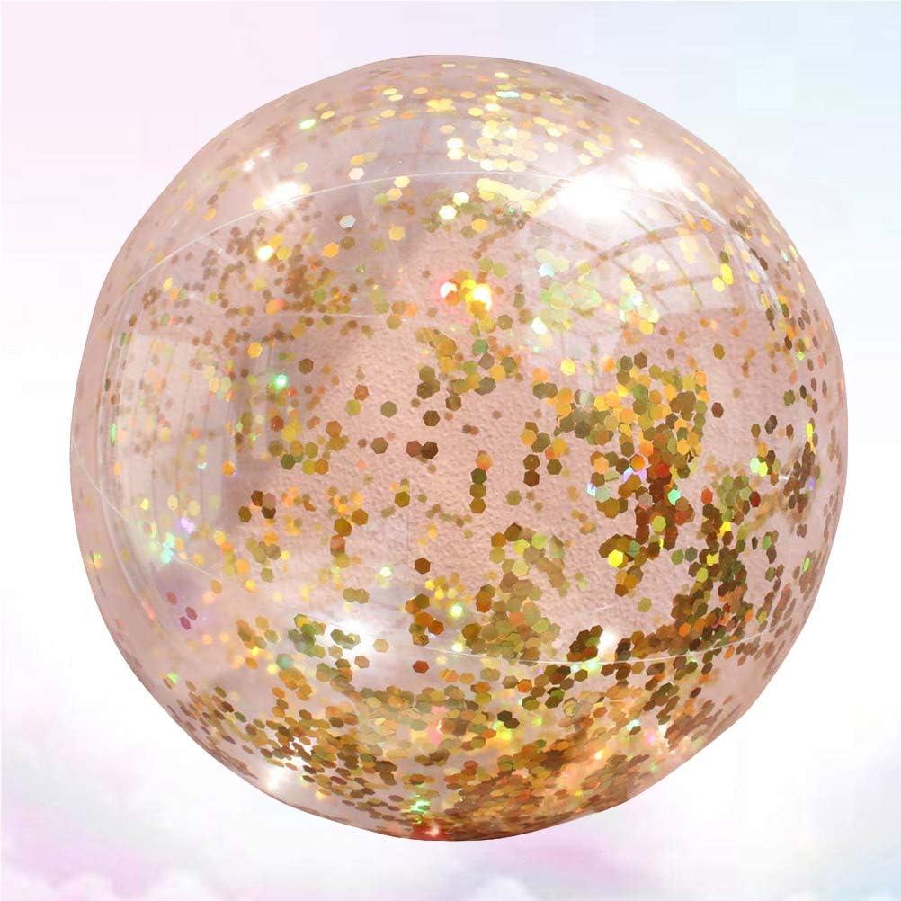 LIOOBO Lentejuela Transparente Bola Inflable Verano Divertido Agua Diversión Jugar Pelota de Playa Bola de Billar Fiesta de Bolas Favor para niños Niños (Dorado): Amazon.es: Juguetes y juegos