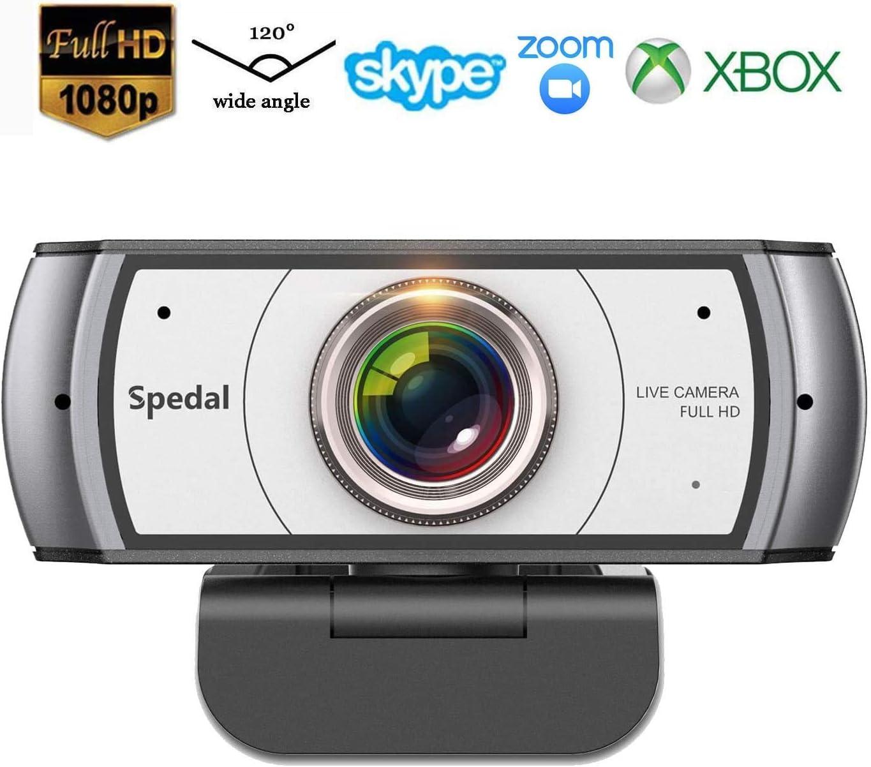 Webcam 120° Gran Angular Full HD 1080P Cámara Web Compatible con Skype,Xbox, Twitch,Youtube, Facebook Webcam de USB Plug and Play