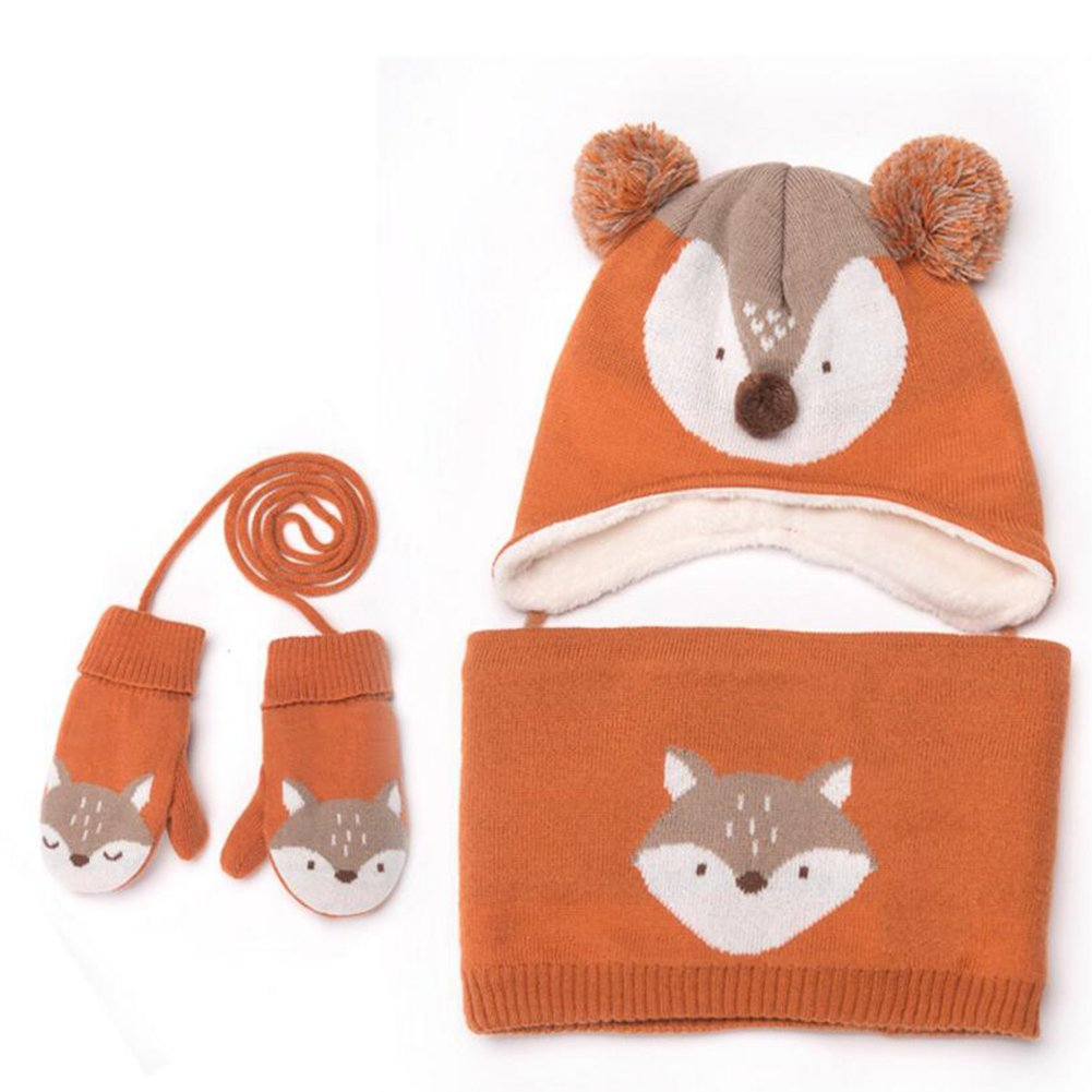 Baby Hats Mittens Cap Girls Boys Winter Warm Knit Hat+Scarf/Gloves 2/3 Pieces Set