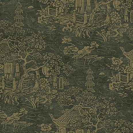 Wallpaper Designer Shiny Gold Pagoda Asian Garden On Black Faux