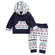Baby Girl 2P Set Toddler Infant Baby Girl Boy Clothe Geometric Hooded Tops+Pants (Navy, 6-12 Month)