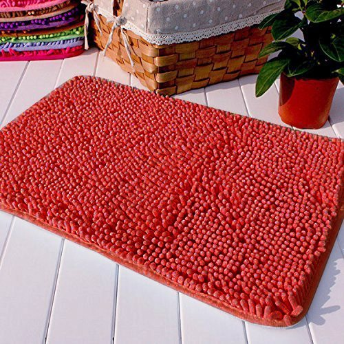 Hughapy Red Non Slip Microfiber Carpet/Doormat / Floor mat/Bedroom / Kitchen Shaggy Area Rug Carpet (23.6