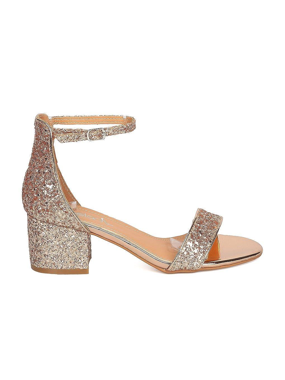 0c6d6a27eef Betani Women Glitter Leatherette Open Toe Chunky Heel Ankle Strap Sandal  GC22
