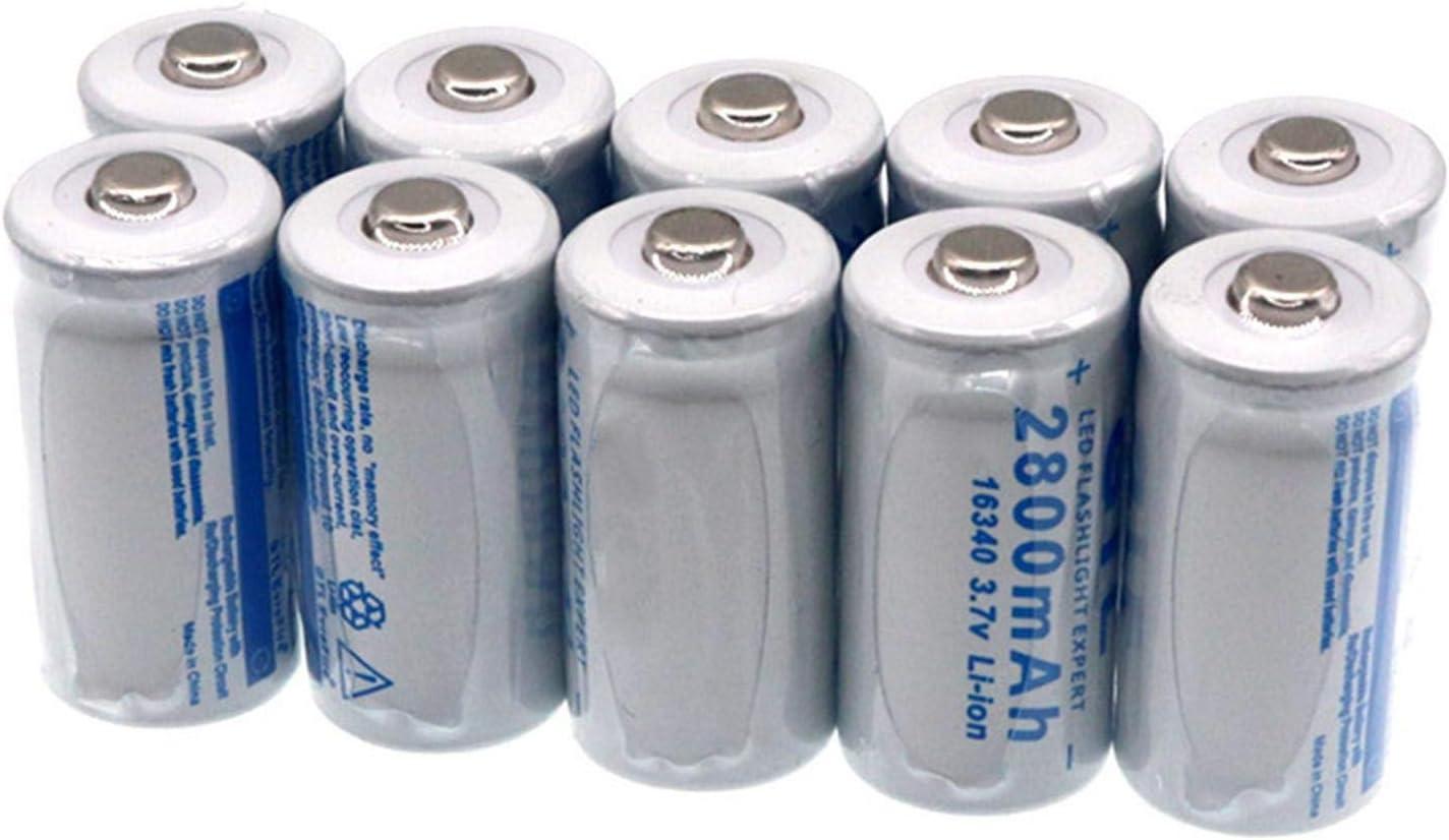 zhoudashu Rechargeable Li-ion Battery, 16340 3.7V 2800mAh for LED Flashlight 20pcs 12pcs