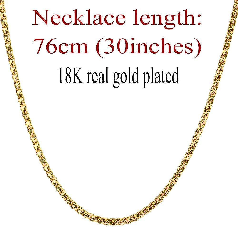 U7 Collar de Cadena Espiga para Hombre de Acero Inoxidable//Chapado en Oro//Metal Negro Ancho 3mm//6mm//9mm, Longitud 46cm//55cm//66cm//71cm//76cm para Seleccionar