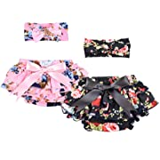 Qandsweet Baby Girl Stretchy Bloomers with headband Summer Diaper Covers 2 Sets 0-6M