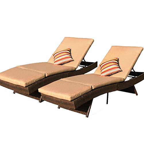 Sundale Outdoor 2PCS Deluxe Patio Adjustable Resin Wicker Chaise Lounge Chair Set