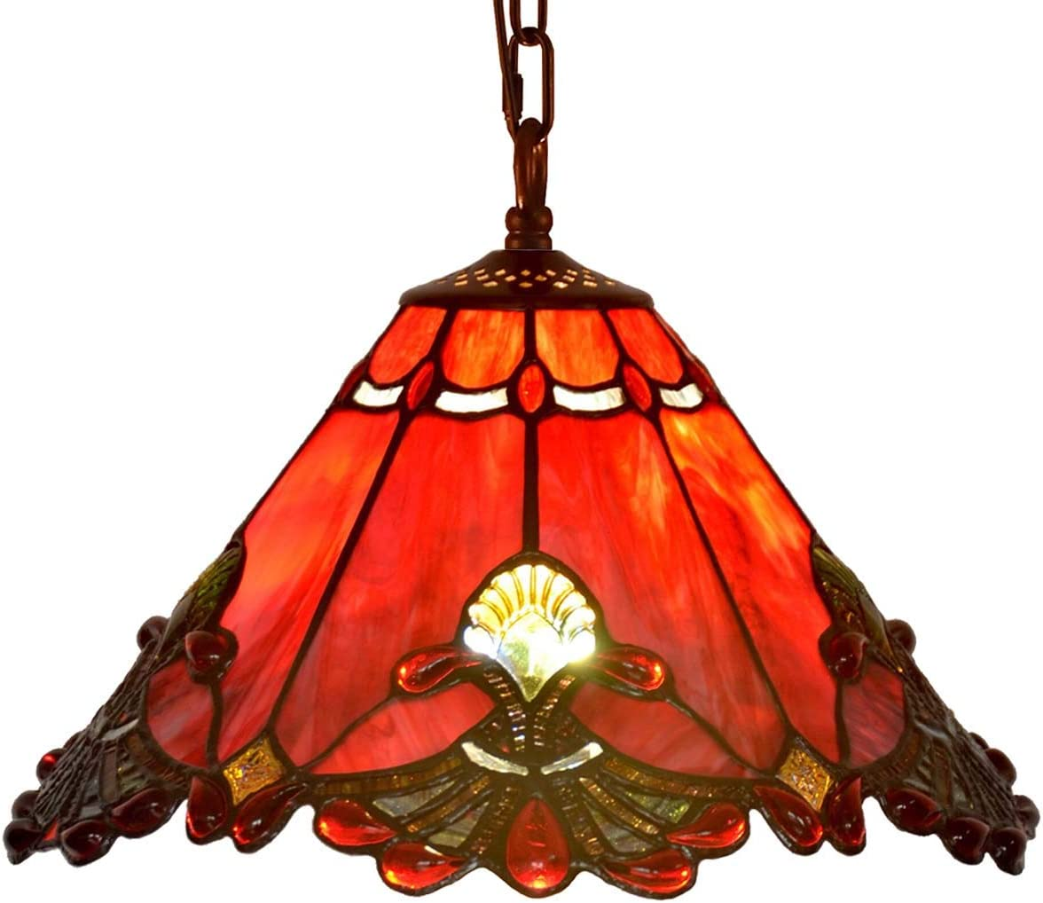 Bieye L10719 Baroque Tiffany Style Stained Glass Ceiling Pendant Light Fixture with 13 Inch Wide Handmade Shade Red