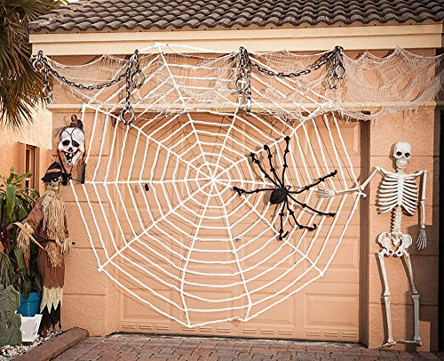 Garma Multi-Size Spider Web for Halloween Decorations, Virtual Realistic Spider Web, Black or White (12FT, White)