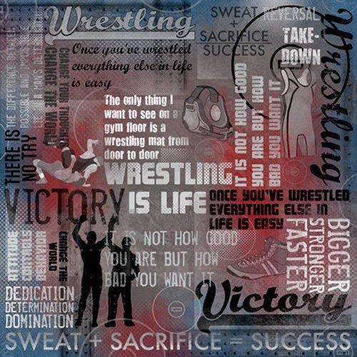 Wrestling Design - Karen Foster Design Scrapbooking Paper, 12 x 12