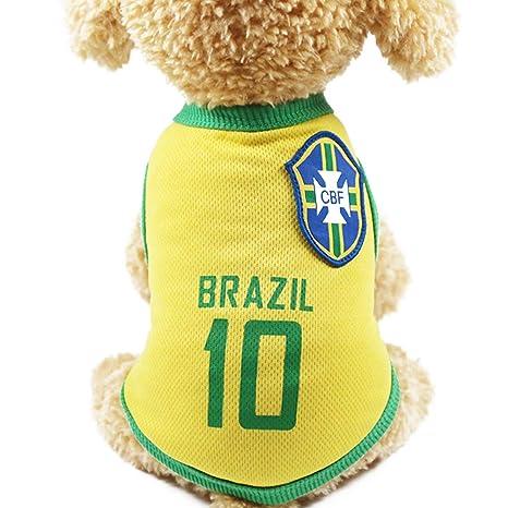 Nicedeal - Chaleco de fútbol brasileño para Mascotas con el ...