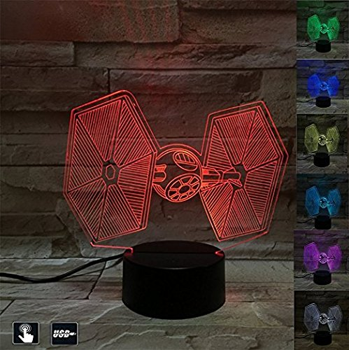 3D Illusion LED Fighter Night Light,7 Colors Gradual Changing Touch Switch Battleship Table Lamp for Holiday Gifts or Home Decorations (Tie Fighter)