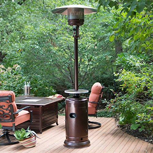 Cheap Red Ember Red Ember Hammered Commercial Patio Heater with Table, Bronze
